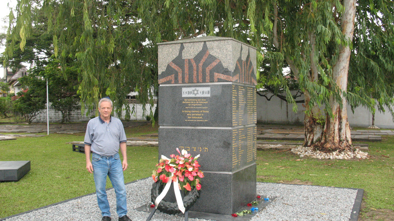 Jacob Steinberg, Kulanu Canada board member, in front of the Holocaust memorial in Suriname.